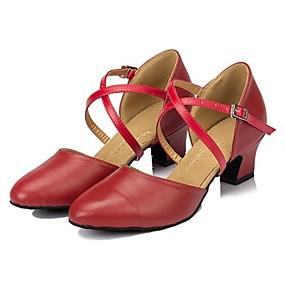 billige Klassisk kolleksjon av dansesko-Dame Dansesko Lær Moderne sko Tvinning Høye hæler Kubansk hæl Kan spesialtilpasses Svart / Rød / Ytelse