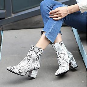 preiswerte Fashion Stiefel-Damen Stiefel Blockabsatz Spitze Zehe Leder / Schlangenhaut Booties / Stiefeletten Freizeit Herbst Winter Grau