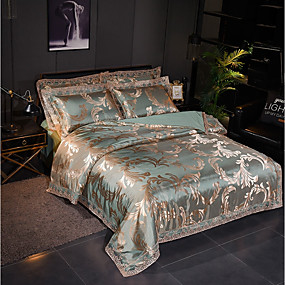 cheap High Quality Duvet Covers-Duvet Cover Sets Luxury Polyster Jacquard 4 Piece Bedding Set With Pillowcase Bed Linen Sheet Single Double Queen King Size Quilt Covers Bedclothes