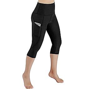 cheap Yoga & Fitness-Women's High Waist Yoga Pants Capri Leggings Black Grey Running Fitness Sports Activewear Micro-elastic Slim