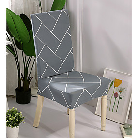 preiswerte Pantoffeln-Schonbezüge Stuhlbezug Reaktivdruck Polyester / Grau & Weiß / Stylisch Geometrisch / Linienmuster