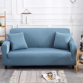 cheap Slipcovers-Sofa Cover High Stretch Lake Blue Combinatorial Soft Elastic Polyester Slipcovers
