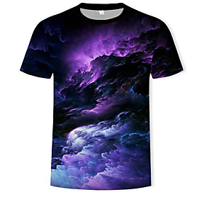 preiswerte Plan Your Summer-Herrn Galaxis / 3D - Grundlegend / Boho T-shirt, Rundhalsausschnitt Druck Regenbogen / Kurzarm