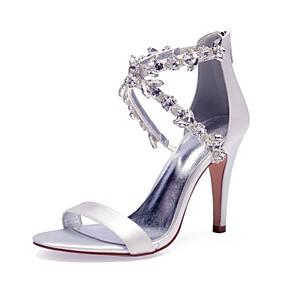 preiswerte Schuhe und Taschen-Damen Satin Frühling Sommer Süß / Britisch Hochzeit Schuhe Stöckelabsatz Runde Zehe Strass / Glitter Burgund / Champagner / Elfenbein / Party & Festivität