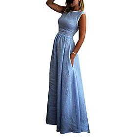 preiswerte Damenbekleidung-Damen Grundlegend Swing Kleid - Patchwork, Solide Maxi