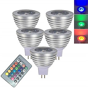cheap Dimmable Bulbs-5pcs 3 W LED Spotlight LED Smart Bulbs 250 lm MR16 1 LED Beads SMD 5050 Smart Dimmable Remote-Controlled RGBW 12 V / RoHS