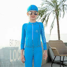 cheap Surfing, Swimming & Diving-QISEHAI Boys' Girls' Rash Guard Dive Skin Suit Diving Suit Thermal / Warm UV Sun Protection Full Body Front Zip - Swimming Diving Water Sports Patchwork Autumn / Fall Spring Summer / Stretchy / Kid's