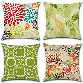 preiswerte Haus & Garten-4.0 Stück Baumwolle / Leinen Kissenbezug, Geometrische Muster Blume Geometrisch Ländlich