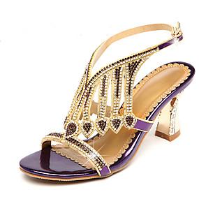 preiswerte Sandalen mit flachen Absätzen-Damen Mikrofaser Frühling Sommer Sandalen Blockabsatz Offene Spitze Strass / Glitter Gold / Schwarz / Purpur / Party & Festivität