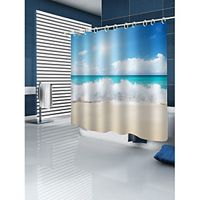 preiswerte Duschvorhänge-Duschvorhänge & Ringe Landhaus Stil Polyester Maschinell gefertigt Wasserfest Bad