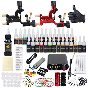 voordelige Tatoeagesets voor beginners-DRAGONHAWK Tattoo Machine Beginnersset - 2 pcs Tattoeagemachines met 1 x 30 ml / 28 x 5 ml tatoeage-inkten, professioneel niveau, Alles in één, Eenvoudige installatie Legering Mini-voeding No case 2