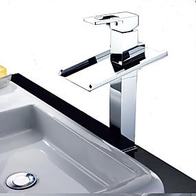 preiswerte Toppen Sie den Trend-Waschbecken Wasserhahn - Wasserfall / LED Chrom Freistehend Einzigen Handgriff Zwei LöcherBath Taps / Messing
