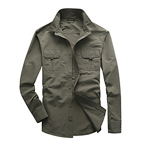 cheap Camping, Hiking & Backpacking-Men's Hiking Shirt / Button Down Shirts Long Sleeve Shirt Top Outdoor UV Resistant Quick Dry Breathable Softness Autumn / Fall Spring Summer Fiber Solid Colored Black Army Green Grey Cycling / Bike