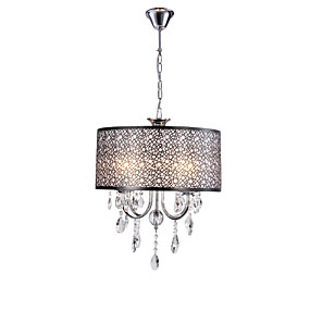 cheap Ceiling Lights & Fans-4-Light 40 cm Chandelier Metal Drum Chrome / Black Traditional / Classic / Country 110-120V / 220-240V