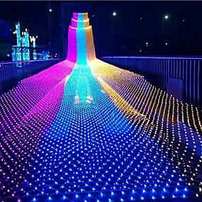 povoljno Svjetlosne trake i žice-1.5m * 1.5m Žice sa svjetlima 96 LED diode 1set Toplo bijelo Hladno bijelo Više boja Vodootporno Party Božićni vjenčani ukrasi 220-240 V