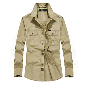 cheap Camping, Hiking & Backpacking-Men's Hiking Shirt / Button Down Shirts Long Sleeve Outdoor Breathable Comfortable Wear Resistance Multi Pocket Shirt Top Autumn / Fall Spring 100% Cotton Camping / Hiking Hunting Climbing Army Green