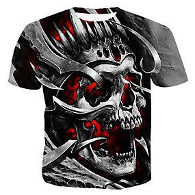 cheap Athleisure Wear-Men's T shirt Graphic 3D Skull Plus Size Print Short Sleeve Casual Tops Gray