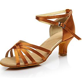 billige Klassisk kolleksjon av dansesko-Dame Dansesko Sateng Sko til latindans Høye hæler Kubansk hæl Mørkebrun / Trening / Ytelse / Lær