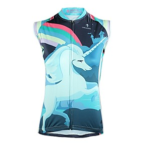 cheap Women-ILPALADINO Women's Sleeveless Cycling Jersey Summer Polyester White Cartoon Bike Jersey Top UV Resistant Breathable Reflective Strips Sports Clothing Apparel / Back Pocket