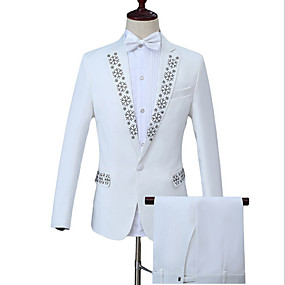 preiswerte Beliebtesten Produkte-Herrn Arbeit Geschäftlich Standard Anzüge, Geometrisch Peter Pan-Kragen Langarm Polyester Weiß / Business Formal