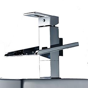 preiswerte Renovierung-Waschbecken Wasserhahn - Wasserfall / LED Chrom Freistehend Einzigen Handgriff Zwei LöcherBath Taps / Messing