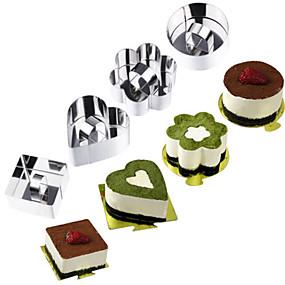 preiswerte Küche & Utensilien-1pc Edelstahl 3D Kuchen Neuheiten für die Küche Kreisförmig Rechteckig Quadratisch Kuchenformen Backwerkzeuge