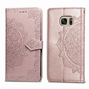 cheap Samsung Case-Case For Samsung Galaxy S7 Card Holder / Flip Full Body Cases Solid Colored Soft PU Leather for S7