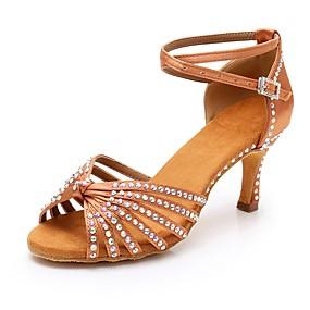 preiswerte Schuhe und Taschen-Damen Satin Schuhe für den lateinamerikanischen Tanz Crystal / Strass Absätze Schlanke High Heel Braun / Rot / Blau / Leistung