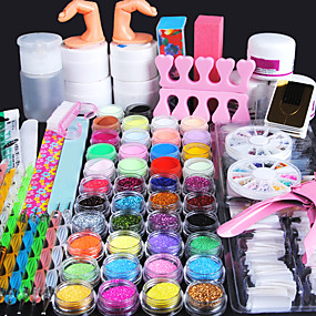 cheap Nail Art & Decoration-Nail Designs 2020 All In One 96 Pcs Nail Acrylic Kits Powder Sets False Nail UV Gel Decorations Basic Nail Art Tools Professional Best Quality In Stock