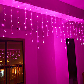cheap LED String Lights-4m 96 LEDs Icicle Curtain Light with Memory Function can be Linkable to the Light String White Blue Warm White Pink Purple Multi-color 110-120V 1pc
