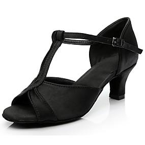 preiswerte Tanzschuhe-Damen Tanzschuhe Satin Schuhe für den lateinamerikanischen Tanz Absätze Kubanischer Absatz Maßfertigung Silber / Fuchsia / Braun / Leistung / Leder / Praxis