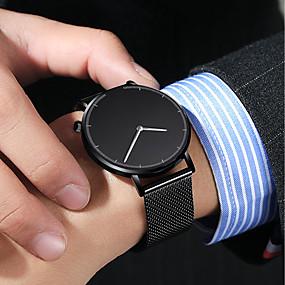 preiswerte Rabatt Uhren-Herrn Uhr Kleideruhr Quartz Edelstahl Schwarz / Silber 30 m Wasserdicht Kreativ Armbanduhren für den Alltag Analog Retro Freizeit Weiß Schwarz Blau