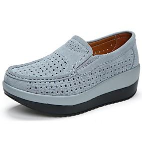 cheap Women's Slip-Ons & Loafers-Women's Loafers & Slip-Ons Wedge Heel Round Toe Cowhide Comfort Summer / Fall Black / Red / Dark Blue / EU40