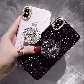 cheap Phones & Accessories-Case For Apple iPhone XS / iPhone XR / iPhone XS Max Rhinestone / with Stand Back Cover Glitter Shine Hard TPU