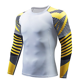 cheap Running & Jogging-Men's Compression Shirt Long Sleeve Compression Base Layer T Shirt Top Plus Size Lightweight Breathable Quick Dry Soft Sweat wicking Red and White Black / Red Black / Yellow Nylon Winter Road Bike