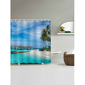 cheap Shower Curtains-Shower Curtains & Hooks Modern Polyester Machine Made Waterproof Bathroom