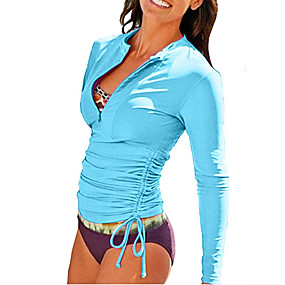 cheap Surfing, Swimming & Diving-SBART Women's Rashguard Swimsuit Diving Suit Top UV Sun Protection Quick Dry Stretchy Long Sleeve Front Zip - Swimming Diving Surfing Snorkeling Spring &  Fall Summer