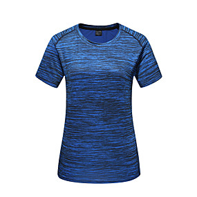 cheap Camping, Hiking & Backpacking-Men's Hiking Tee shirt Short Sleeve Tee Tshirt Top Outdoor Quick Dry Breathable Stretchy Sweat wicking Spring Summer POLY Spandex Camo Dark Grey Jacinth +Gray Red Camping / Hiking Hunting Fishing