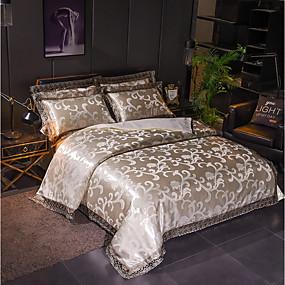 preiswerte 9. Jubiläums - Angebote-Bettbezug-Sets Luxus Polyester Jacquard 4 StückBedding Sets