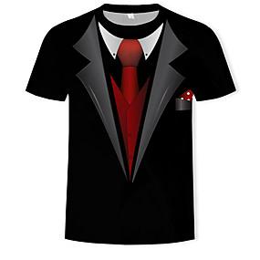 preiswerte Herrenmode-Herrn 3D Baumwolle T-shirt, Rundhalsausschnitt Druck Schwarz