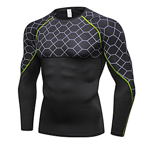 cheap Running & Jogging-Men's Compression Shirt Long Sleeve Compression Base Layer T Shirt Top Lightweight Breathable Quick Dry Soft Sweat wicking Gray+Red Gray+Green Red Winter Road Bike Fitness Mountain Bike MTB Stretchy