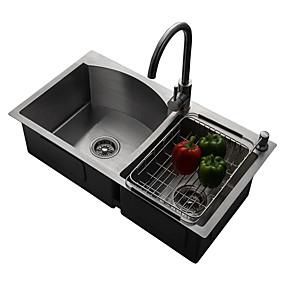 cheap Kitchen Sinks-Kitchen Sink- 304 Stainless Steel Brushed Rectangular Undermount Double Bowl