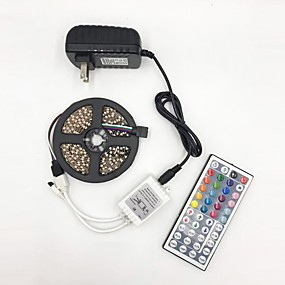 cheap Light Strips & Strings-BRELONG 5M LED Light Strips RGB Tiktok Lights 5050 10mm DC12V 300 with 44 key remote control bare board is not waterproof with power supply