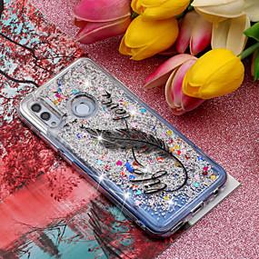 povoljno Maske za mobitele-Θήκη Za Huawei Huawei Honor 10 / Huawei Honor 8X / Mate 10 lite S tekućinom / Uzorak / Šljokice Stražnja maska Perje / Šljokice Mekano TPU