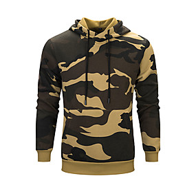 cheap Camping, Hiking & Backpacking-Men's Hoodie Autumn / Fall Winter Outdoor Camo Quick Dry Lightweight Breathable Top N / A Climbing Outdoor Exercise Multisport Army Green Khaki