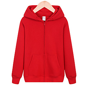 cheap Camping, Hiking & Backpacking-Men's Hoodie Autumn / Fall Winter Outdoor Solid Color Breathable Top Cotton Single Slider Outdoor Exercise Camping / Hiking / Caving White Black Red