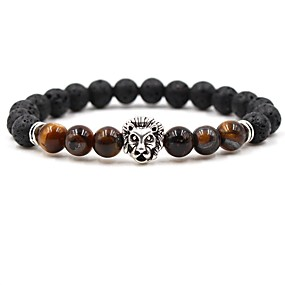 cheap Movie Night-Men's Women's Coffee Brown Red Natural Stone Bead Bracelet Beaded Cathedral Animal Hip-Hop Stone Bracelet Jewelry White / Yellow / Red For Wedding Ceremony