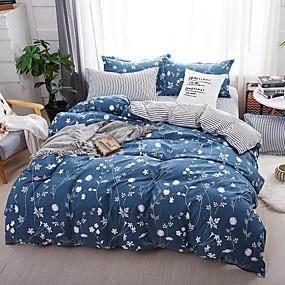 preiswerte Blumen-Duvet-Abdeckungen-Bettbezug-Sets Blumen / Luxus / Zeitgenössisch Polyester Bedruckt 4 StückBedding Sets / 200 / 4-teilig (1 Bettbezug, 1 Bettlaken, 2 Kissenbezüge)