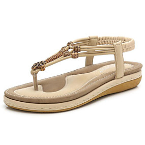 preiswerte Sandalen mit flachen Absätzen-Damen Sandalen Flacher Absatz Leder Sommer Schwarz / Mandelfarben