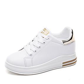 voordelige Damessneakers-Dames PU Lente zomer Informeel / Zoet Sneakers Sleehak Ronde Teen Goud / Zwart / Rood